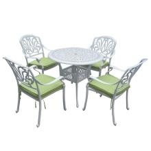 Molde de alumínio Metal pátio ao ar livre de jantar conjunto de mobiliário de jardim