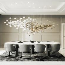 Modern creative clear glass living room led chandelier