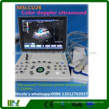 2016 Die beliebteste gebrauchte tragbare Farbdoppler Ultraschallmaschine MSLCU26i für OB, GYN, Vaskuläre, Transvaginale Untersuchung