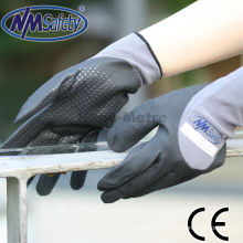 NMSAFETY grey cotton work gloves with rubber grip dots