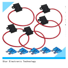 12V 10 AWG Red Wire Harness Waterproof Automotive Vehicle Inline Fuse Holder with Cover