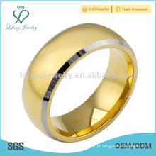 Simples banhado a ouro 18k anel de tungstênio para homens
