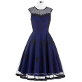 Belle Poque Stock mangas cuello redondo N / T tafetán azul oscuro Vintage Retro 50s 60s vestido BP000112-4