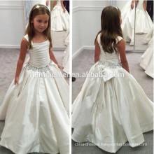 2016 hot sell satin big bow diamond decoration baby girl wedding dress