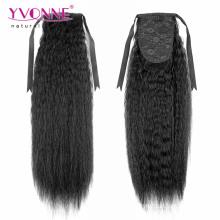 Rabo de cavalo de cabelo humano em linha Kinky Natural