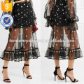 Fashion Lady Embroidered Black Tulle Summer Midi Skirt Manufacture Wholesale Fashion Women Apparel (TA0021S)