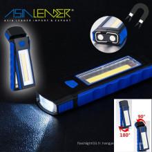 Avec crochet magnétique et Support Stand idéal pour Camping Household 350 Lumens COB LED lumière de travail lampe de poche d'inspection portable
