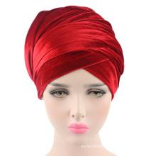 Boutique solid color winter velvet turban muslim long tail cap fashion plain women hat
