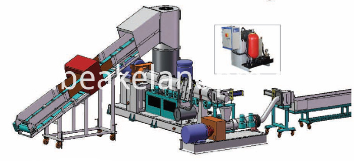 PP raffia bag strand cutting granulating line