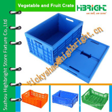 heavy duty solid folding and stackable plastic crate with handles