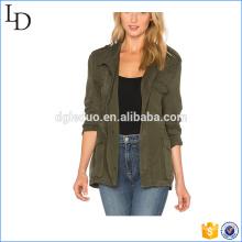 Exército verde 2017 jaqueta militar mulheres moda 100% jaqueta de algodão de sarja