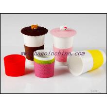Manga de la botella de goma de silicona a prueba de calor de la categoría alimenticia