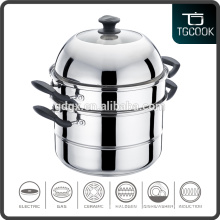 3 Layer Stainless Steel steamer pot with 2 mesh steamer