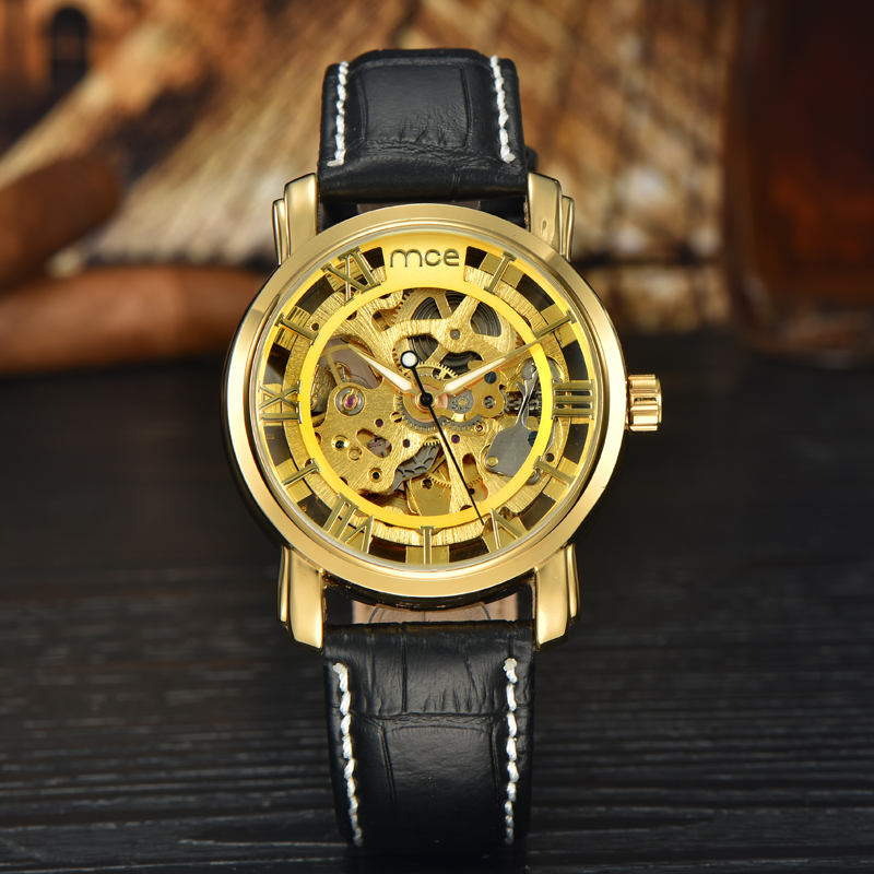 2017 automatic movement skeleton mechanical men watch