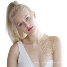 Fashion Women Punk Golden Body Waist Shoulder Body Chain Collier