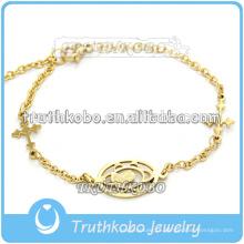 Vácuo de alta qualidade banhado a ouro rosa religiosa virgem mary estátua braceletes de aço inoxidável charme com correntes