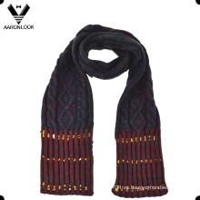 Moda de acrílico Jacquard cable patrón invierno niños bufanda