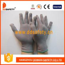 Gants en nylon gris de calibre 13, gants anti-statiques (DCH128)