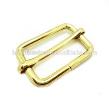 Moda de alta qualidade de metal latão folheado corrediça anel retangular fivela