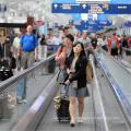 Аэропорт Транспорт Крытый Открытый Пассажира Панель Движется Конвери Тротуаре