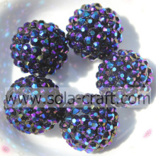 18*20MM Bluishviolet Resin Rhinestone Shiny Beads Loose Round Jewelry