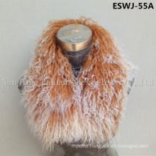 Long Pile Natural Mongolian Fur Scarf Eswj-55A