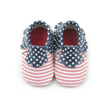 Red Stripe Spot Real Leather Baby Footwear