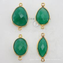 925 Silver Vermeil Gold Plated Emerald Quartz Gemstone Bezel Connectors