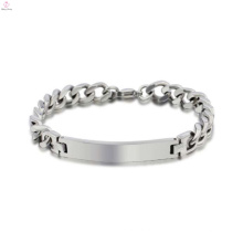Pulsera unisex de la venta al por mayor a granel del acero inoxidable, diseños premier pulsera de plata en blanco de la joyería
