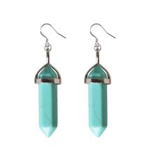 Natural Gemstone Healing Hexagonal Columns Crystal Hook Earring