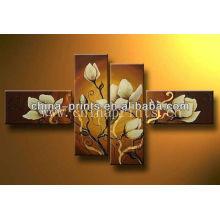 Artista decorativo manualmente pintura al óleo flores, 4 paneles