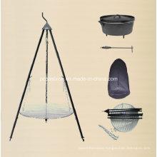 LFGB, Ce, FDA, SGS Cast Iron Dutch Oven Camping Set with Tripod