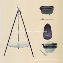 LFGB, Ce, FDA, SGS Ferro fundido Dutch Oven Camping Set com tripé
