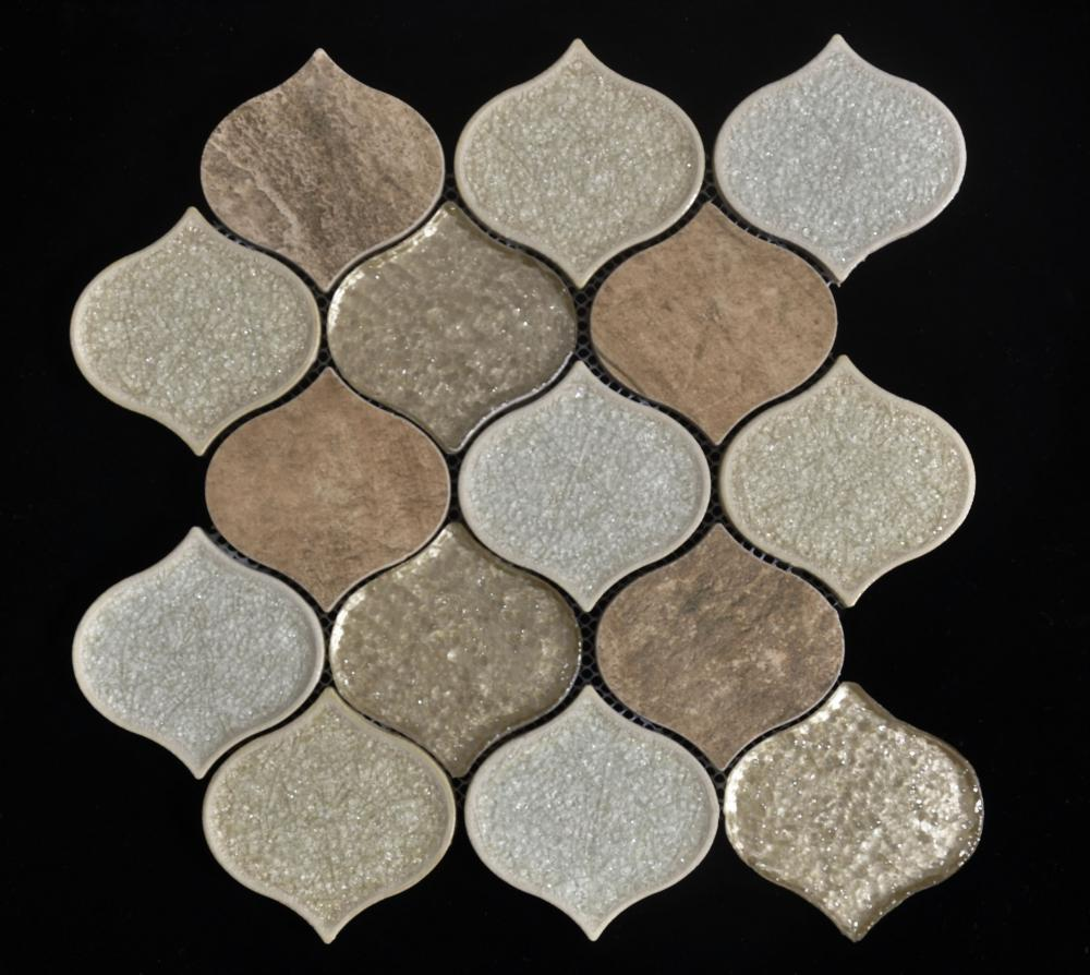 Brown Lartern Shape Porcelain Glass Mix Mosaic
