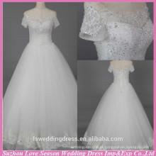 WD6022 Qualidade tecido pesado exportação artesanal de manga curta cristal strass do ombro casamento vestidos com mangas