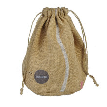 Round jute drawstring bag with logo printed