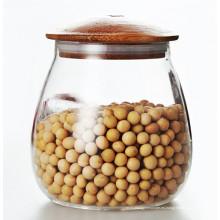 Almacenamiento de vidrio de vidrio de 1000 ml puede con tapa de bambú