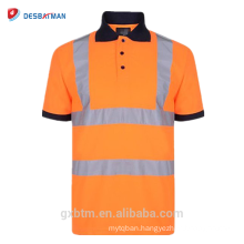 Men's Button Reflective T-shirts 70% Cotton 20% Polyester Hi Vis High Viz Visibility Short Sleeve Safety Work-wear Polo Shirt