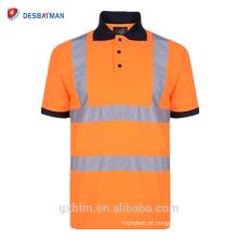 T-shirt Reflexivo dos homens 70% Algodão 20% Poliéster Hi Vis Visibilidade de Manga Alta de Manga Curta de Segurança de Trabalho-desgaste Camisa Polo