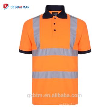 T-shirts réfléchissants de bouton des hommes 70% coton 20% polyester salut vis haute visibilité haute visibilité sécurité à manches courtes polo de travail