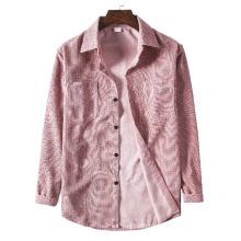 Spring Men Corduroy Shirt Cotton Long Sleeves Bottoming Shirt Slim