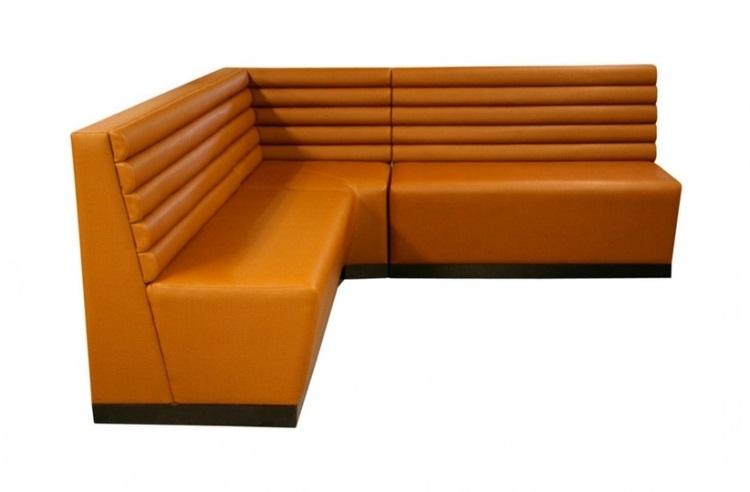 Customized Restaurant Corner Love Seat Leather Sofa Booth