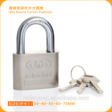 High Security Nickle Plated Big Round Corner Iron Padlock