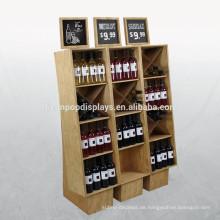Kundenspezifische Display-Design Weinständer Supermarkt Bodenbelag Holz kommerziellen Pos Wein Display