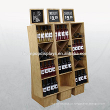 Design de exibição personalizado Wine Rack Supermarket Floorstanding Wooden Commercial Pos Wine Display