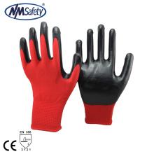 NMSAFETY 13 gauge forro de poliéster vermelho com luvas de trabalho de segurança de nitrilo preto China fabricantes
