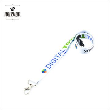 Heat Transfer Logo Blanco Color Lanyad con clip de metal