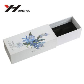 boîte élégante de tiroir de papier d'art blanc de modèle de fleur pour des produits de beauté
