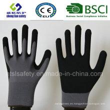 Revestimiento de nylon de calibre 13, revestimiento de nitrilo, guantes de trabajo de seguridad de acabado de arena