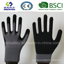 13 Gauge Nylon Liner, Nitrile Coating, Sandy Finish Safety Work Gloves